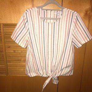 Madewell Multistrupe Tie Front Shirt